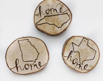 home wood magnets, rustic home decor, kitchen decor, fridge magnets