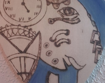 Steampunk elephant pyrography  wooden hanging heart plaque