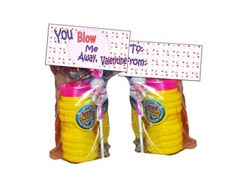 You Blow Me Away Valentine - goody bags - bag toppers - Valentines Day