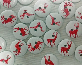Clearance! - 20 Reindeer Wood Buttons : Crafts Scrapbooking Sewing - Holiday Buttons - Christmas Buttons - Winter Buttons - #126