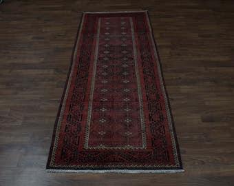 Tribal Handmade Hallway Red Balouch Persian Runner Oriental Area Rug Carpet 4X11
