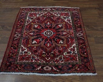 4X5 Geometric Think Pile Goravan Heriz Persian Oriental Area Rug Carpet 3'8X4'7