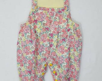 Dungarees - Romper - Baby outfit - Flower - Pink - Yellow - Baby - Baby shower - Toddler - Overalls - Baby gift – Pink dungarees – Trousers