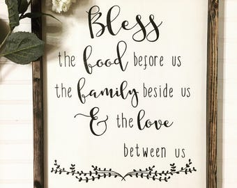 Wooden sign- Bless the food before us