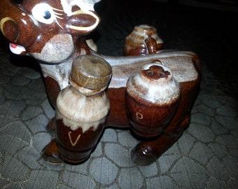 Vintage TILSO Japan Brown Ceramic Cow Salt Pepper Shaker Oil Vinegar Cruet