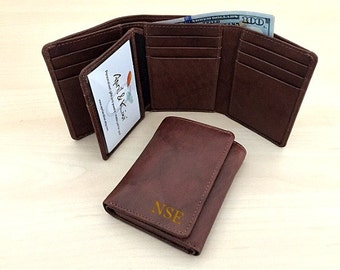 RFID wallet - Men's Trifold Wallet - Personalized Valentine's Day • Men's wallet • Birthday gift for man • Personalized wallet Toffee** 7133