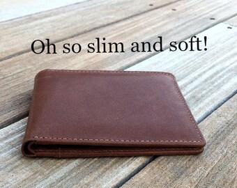 Slim men's wallet • Minimalist men's leather wallet • personalized slim wallet •  monogram slim wallet • custom slim wallet • toffee** 7720