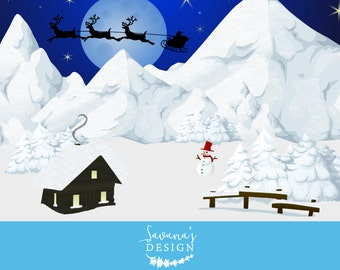 Winter Wonderland Clipart, Printable Christmas Card, Illustrator Vector, Christmas Decoration Printable, Christmas Decor, Snow Scene SVG