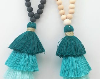 TURQUOISE Triple tassel Mala Necklace-108+1 wooden beads- Meditation Necklace-Collar para meditación- Beaded tassel necklace - Yoga necklace