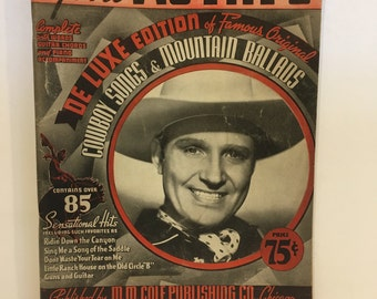 Vintage song book, gene autry, sheet music, cowboy music, Cowboys songs and mountain ballads, country songs, sheet music, 1938, book