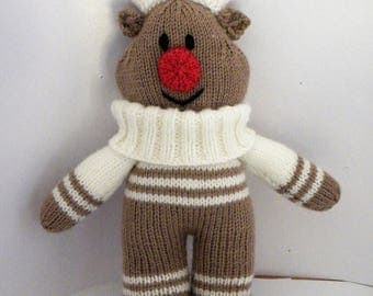 hand knitted reindeer toy complete with jumper