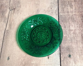 Anchor Hocking Pressed Sandwich Glass ~ Sherbert Plates ~ Forest or Emerald Green