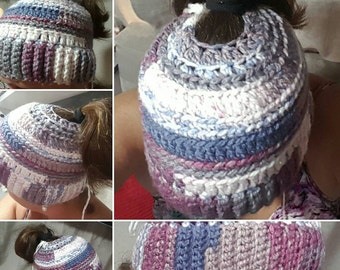 Super soft and warm Messy Bun Beanie or Ponytail Beanie. Thick and Warm. Winter Hat