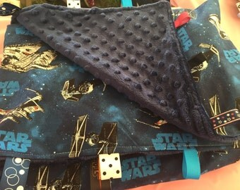 Large Star wars baby blanket with tags-limited availability -blue back