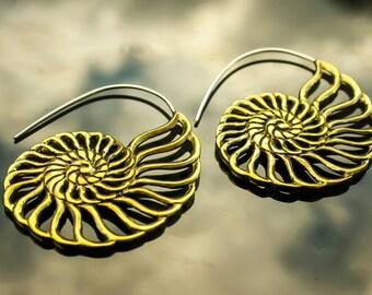 Beautiful brass ammonite fibonacci style earrings, with 925 silver ear wire