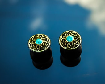 Sono wood ear plugs with lotus mandala and turquoise stone centre