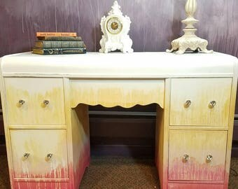 Antique Waterfall Vanity Dresser or Desk in Ombre Pink Yellow and White with Crystal Knobs