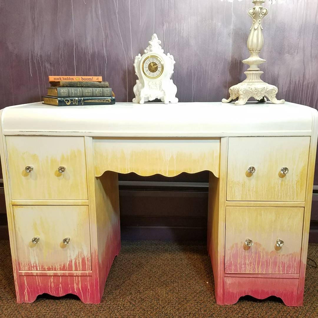 Antique Waterfall Vanity in Ombre Pink Yellow and White with Crystal Knob -  Vanity with mirror - artistic vanity - glam vanity - REDUCED!!! Antique Waterfall Vanity In Ombre Pink Yellow And White
