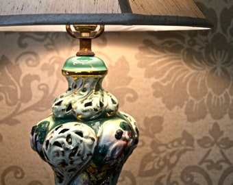1950's Vintage Green and White Capodimonte Lamp