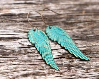 Boho Rustic Wing Earrings | Faerie Wings | Gifts For Her | Rustic Woodland Wing Earrings | Simple Turquoise Wing Earrings By Redd Molly