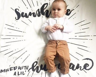 Organic Cotton Baby Swaddle Blanket-Sunshine Mixed with a little Hurricane-Receiving Blanket