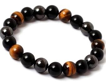 Mens Bracelet, Mens Beaded Bracelet, Mens Yoga Bracelet, Bracelet for Men, Black Onyx, Hematite, Brown Tiger Eye, Gift for Men, Jewelry Men