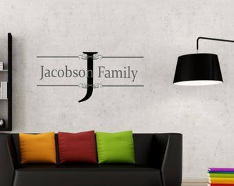 Family name tag with large Initial and over and under strike through lines vinyl wall sticker