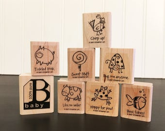 Stampin Up stamp set Very Punny - 2007 retired - crib stamp missing - baby stamp added - looks unused - animal stamps & short humor sayings