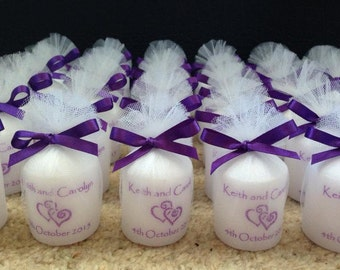 Personalised Candle Wedding Favours, 5cm scented votives (set of 5)