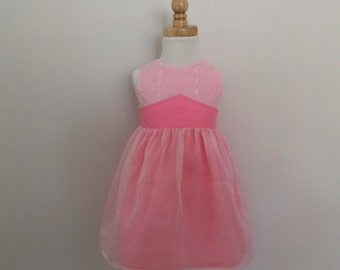 Girls Party Dress - Size 1,  Broderie Anglaise Dress, Pink Dress, Organza Dress, READY TO SHIP