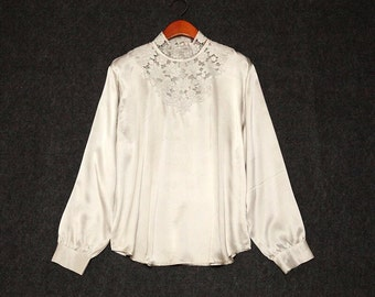 NOS Unused Vintage Elegant Hand Embroidered Silk blouse/shirt