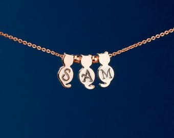 Personalized Rose Gold Cat Necklace -- Hand Stamped Cat Necklace -- Rose Gold Cats with Letters -- Customizable Cat Necklace