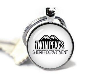 Twin Peaks Keychain Sheriff Department Keyfob Twin Peaks Key ring Twin Peaks Accessories
