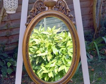 Gold Antique Mirror Classic French Ornate Circa 1960's Decorative Shabby Chic Vintage