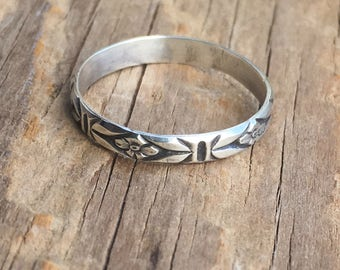 Patterned Sterling Silver Band, Floral Wedding Band, Wedding Ring, Sterling Silver Ring,  Stacking Ring
