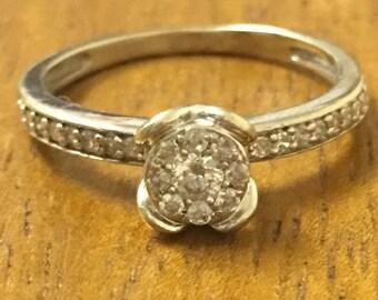 10k white gold diamonds soliter ring