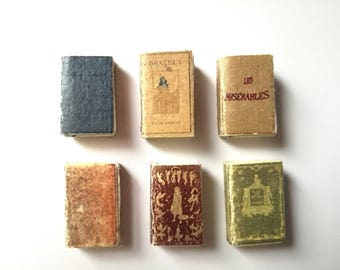 Dollhouse books, twelfth scale, set of 6 dollhouse miniatures, victorian doll house, spell books, mini book, 1 inch scale, mini journals