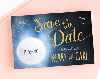 Over the Moon Save the Date/Wedding Announcement Cards