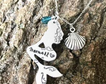 Mermaid Necklace, hand stamped neckace, mermaid, personalised necklace, necklace, mermazing, mermaid gift, mermaid lover, gift for her,