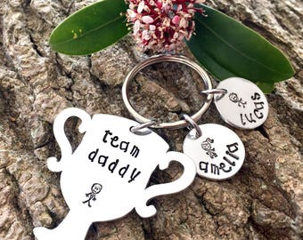 Team Daddy, Fathers Day Gift, Gift for Dad, Gift for Daddy, Gift for him, Personalised Gift, Personalised Keyring, Hand Stamped Keyring,