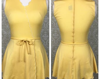 Vintage Loom Togs Tennis Whites Yellow Sleeves Tennis Dress