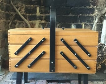 Grandma's Vintage Mid-Century 6 compartment Cantilever Sewing Box with black carry handle and trim
