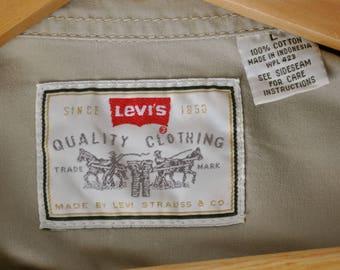 Vintage Levi's Tan Color Shirt Long Sleeve Men's Size Large