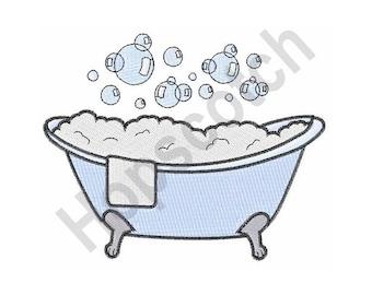 Claw Foot Bubbly Bathtub - Machine Embroidery Design
