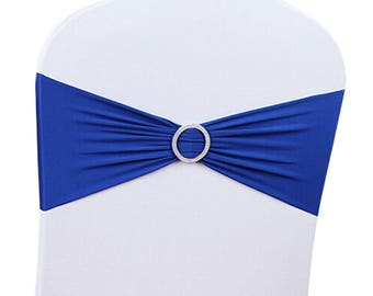 Royal Blue Elasticity Stretch Chair cover Band with Buckle Slider Sashes Bow Decor