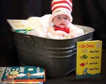 Cat in the Hat, hat and bow, photo prop, Dr. Suess, baby shower gift