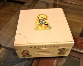 Musitone Pink Music Box (Wooden) circa 50's with Teddy Bear and Geese Cartoon Decals – missing music mechanism