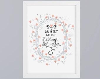 Favorite sister - unframed art print