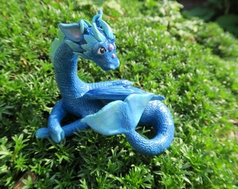 """Handcrafted """"Po the River Dragon"""" polymer clay sculpture"""