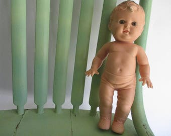 Vintage Doll, Tod L Tot, 1950s, Squeak Toy, Sun Rubber Co, Early Vinyl, Baby Boy, Molded Body, Gifts, Gift, Collectible, Mid Century, Toys